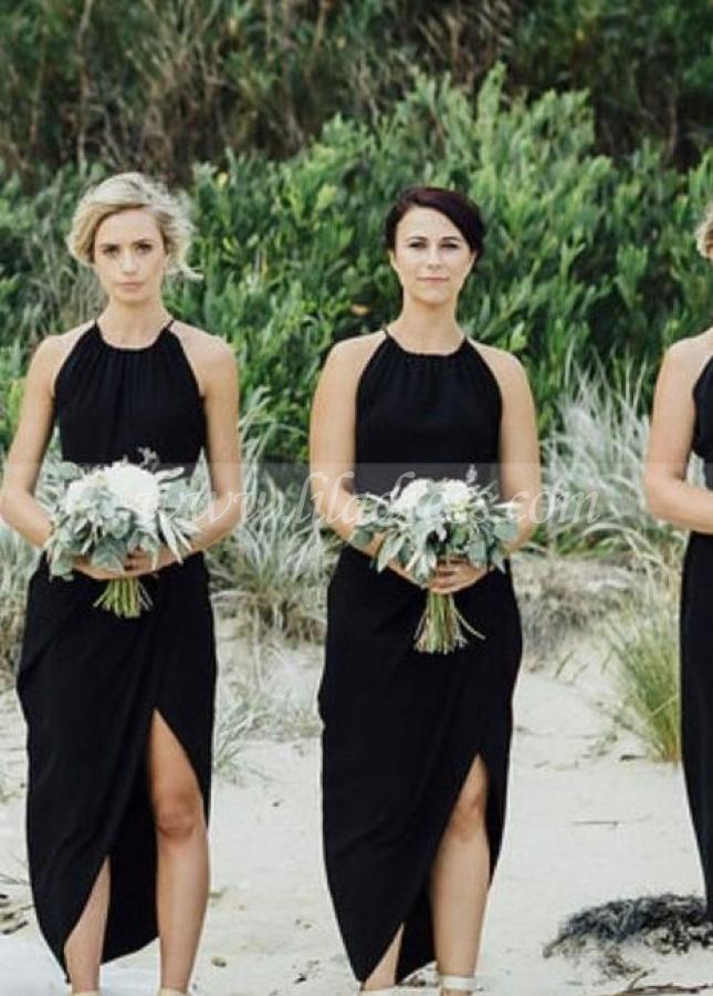 Asymmetrical Chiffon Hem Black Bridesmaid Dress Short
