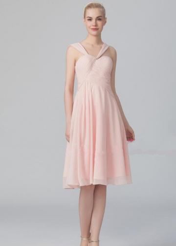Asymmetric Neckline Chiffon Pink Knee Length Bridesmaid Dresses
