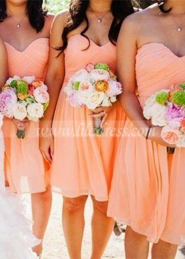 A-line Chiffon Bridesmaid Gown Knee Length Vestido de dama de honra