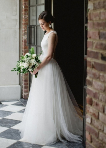 A-line Ivory Simple Bridal Gown Scoop Neck Satin Tulle with Illusion Back
