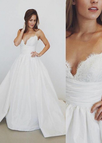 A-line Spaghetti Straps Lace Taffeta Wedding Dress with Chapel Train