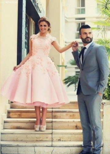 A-line Tea-length Pink Wedding Dresses with 3D Flowers