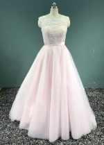 A-line Lace and Tulle Modest Bridal Wedding Dress with Corset Back