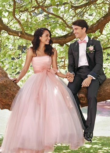 A-line Strapless Pink Wedding Dress with Bow Sash vestido de casamento