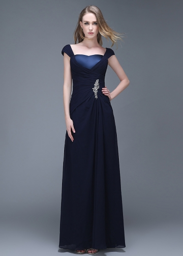 Elegant Chiffon Sweetheart Neckline Full-length Sheath Prom Dresses