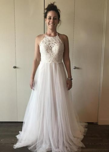 A-line Lace Tulle Ivory Wedding Dress Boho Style Online