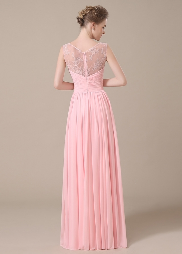 Elegant Chiffon Bateau Neckline Full-length A-line Bridesmaid Dresses