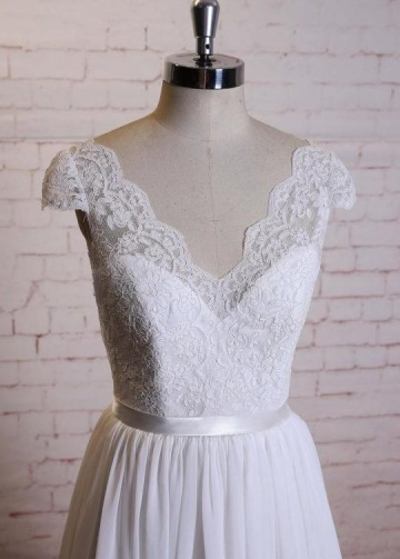 A-line Lace and Chiffon Summer Beach Wedding Gown Online