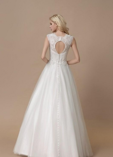 Affordable Lace A-line Bridal Dress Floor-length Tulle Skirt