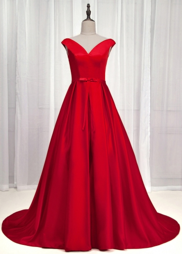 Exquisite Satin Off-the-shoulder Neckline A-Line Prom Dress With Bowknot