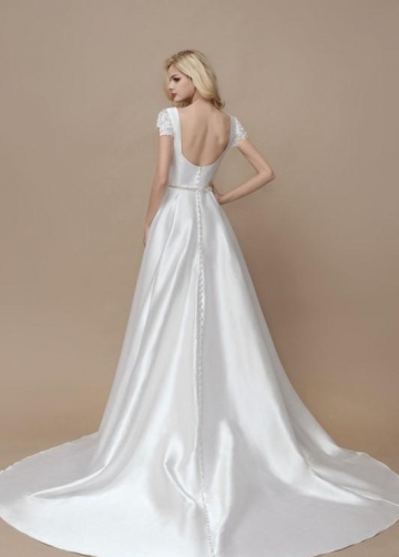 A-line Satin Formal Wedding Gown with Lace Sleeves