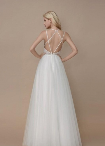 A-line Lace and Tulle Wedding Gowns with Strappy Back