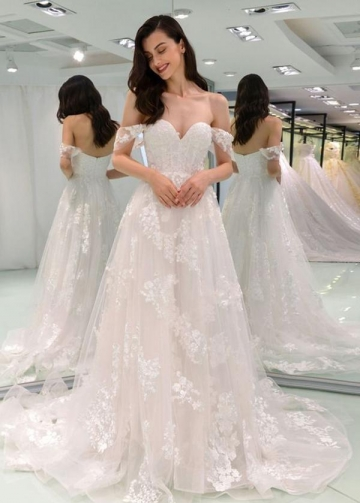 A-line Off-the-shoulder Wedding Dresses Lace Tulle Skirt