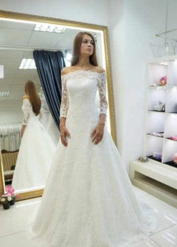 A-line Off-the-shoulder Lace Bridal Gown 3/4 Sleeves vestido de novia