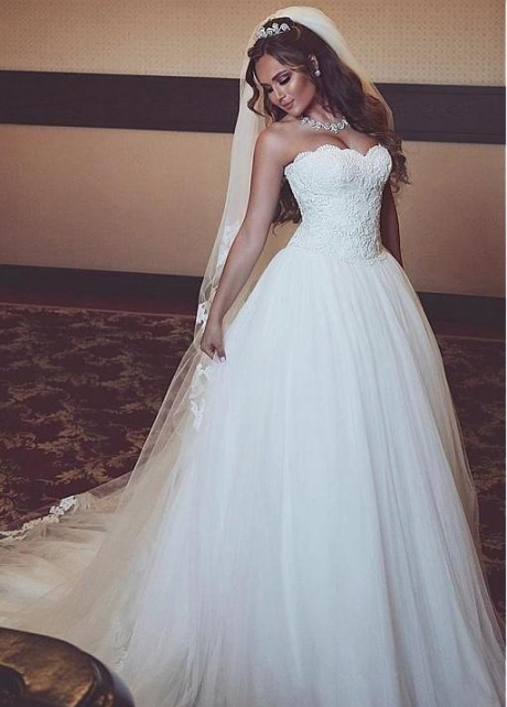 A-line Strapless Lace Corset Wedding Dresses Ivory Tulle Skirt