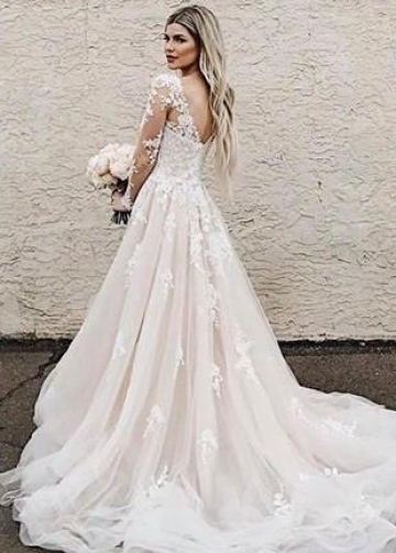 A-line Appliques Champagne Bridal Gown with Sheer Long Sleeves vestido de novia