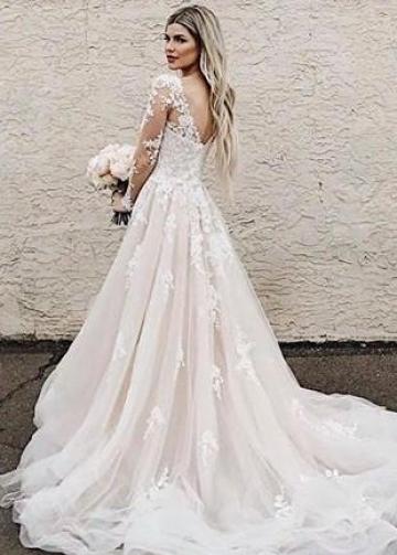 A-line Appliques Champagne Bridal Gown with Sheer Long Sleeves vestido de novia
