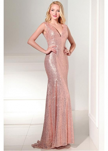 Chic Sequin Lace V-neck Neckline Sheath Evening Dresses