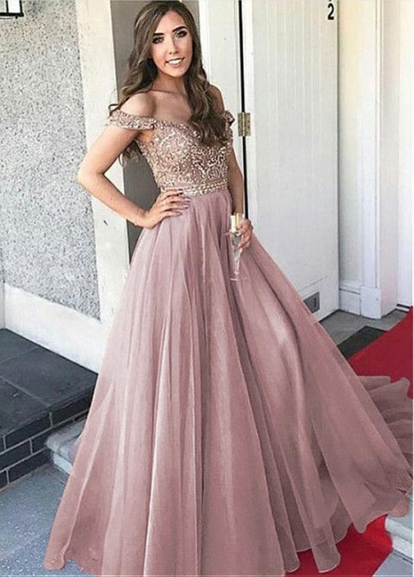 Gorgeous Diamond Tulle Off-the-shoulder Neckline A-line Evening Dress With Beadings