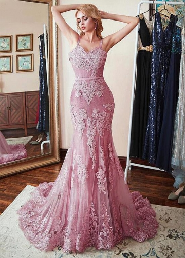 Alluring Tulle Spaghetti Straps Neckline Floor-length Mermaid Evening Dresses With Belt & Lace Appliques