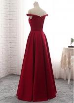 Graceful Satin Off-the-shoulder Neckline Floor-length A-line Red Bridesmaide Dress