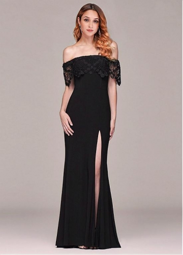 Beautiful Off-the-shoulder Neckline Sheath/Column Evening Dresses