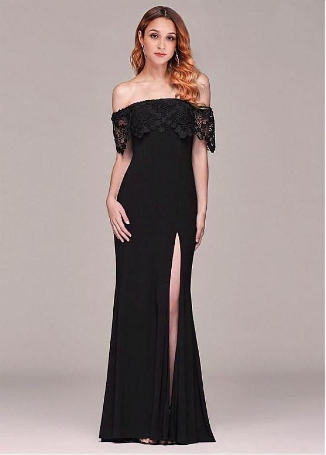 Beautiful Off-the-shoulder Neckline Sheath/Column Evening Dresses