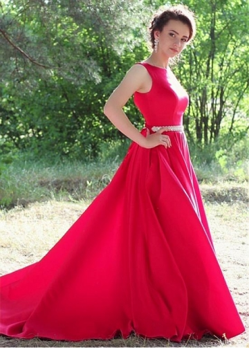 Chic Satin Jewel Neckline Floor-length A-line Evening Dresses With Beadings