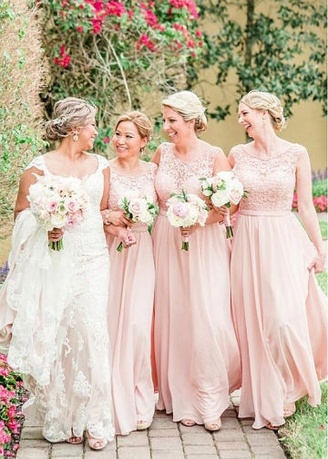 Delicate Tulle & Chiffon Jewel Neckline Floor-length A-line Bridesmaid Dresses With Beaded Lace Appliques & Belt