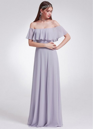 Delicate Chiffon Off-the-shoulder Neckline Floor-length Sheath/Column Bridesmaid Dresses
