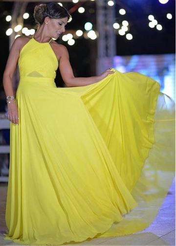 Yellow Chiffon Halter Neckline Floor-length A-line Evening Dresses