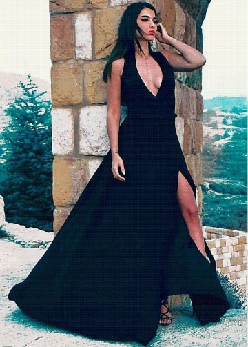 Sexy Black V-neck Neckline Floor-length A-Line Evening Dresses With Belt & Slit