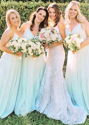 Delicate Tulle Spaghetti Straps Neckline Floor-length A-line Bridesmaid Dresses