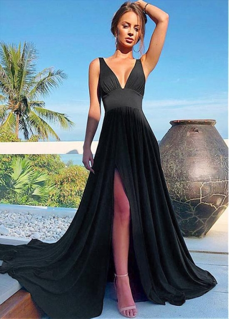 Winsome Jersey V-neck Neckline Floor-length A-line Evening Dress With Slit