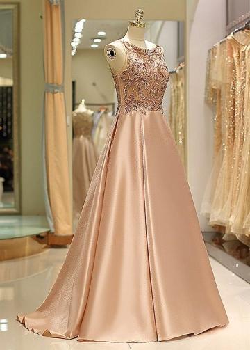 Fashionable Satin Bateau Neckline Floor-length A-line Prom Dress With Beadings