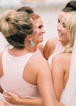 Lightsome Chiffon Jewel Neckline Sheath/Column Bridesmaid Dresses