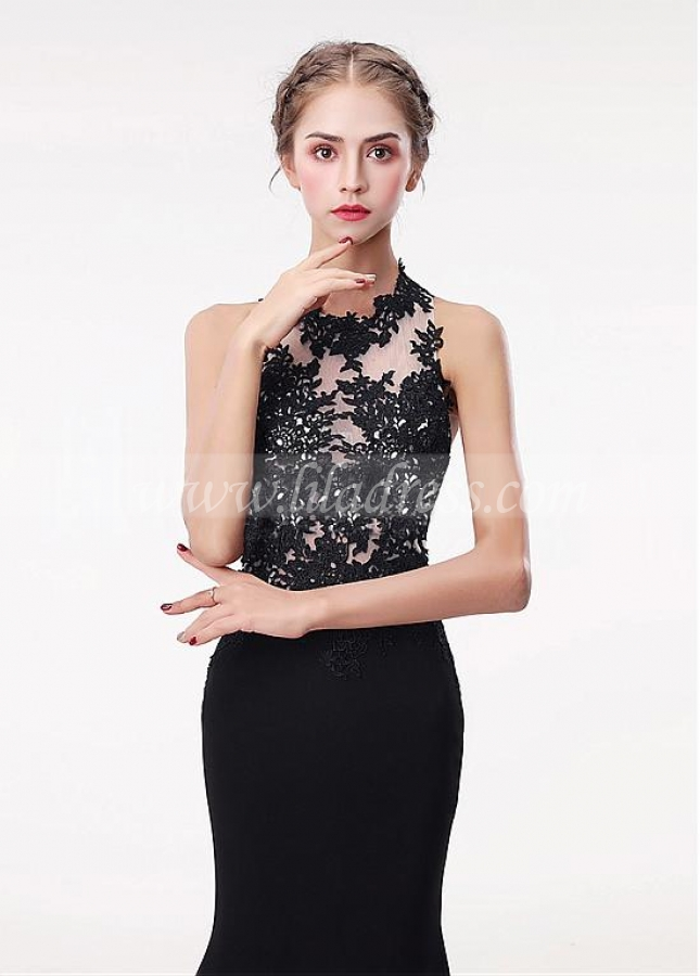 Fabulous Black Spandex Halter Neckline Floor-length Mermaid Evening Dress With Lace Appliques