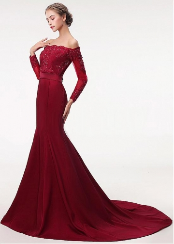Delicate Off-the-shoulder Neckline Floor-length Mermaid Evening Dress With Sleeves