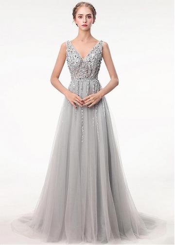 Glamorous Tulle V-neck Neckline Floor-length A-line Prom Dress With Beadings