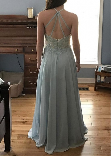 Chic Tulle & Chiffon Halter Neckline Floor-length A-line Prom Dress With Beaded Lace Appliques