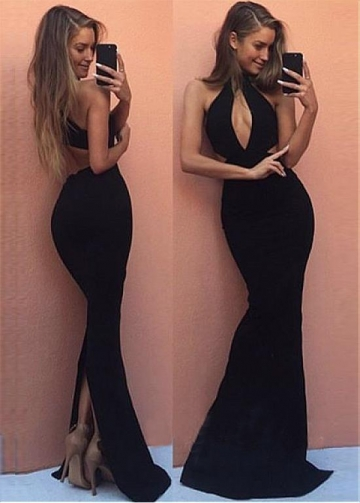 Fantastic Spandex Keyhole Neckline Floor-length Mermaid Evening Dress