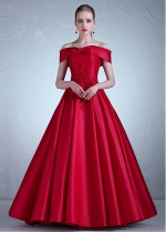 Charming Satin Off-the-shoulder Neckline Full-length A-line Evening Dress With Lace Appliques & Beadings
