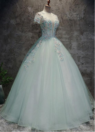 Wonderful Tulle Jewel Neckline Short Sleeves Ball Gown Prom Dress With Beaded Lace Appliques
