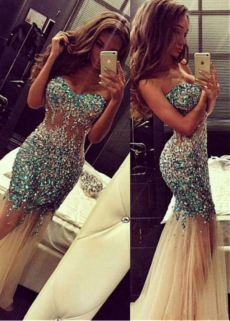 Sparkling Tulle Sweetheart Neckline Mermaid Evening Dress With Beadings