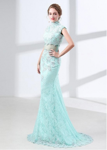 Hot Sale Lace High Collar Neckline Cap Sleeves Mermaid Evening Dress With Beadings