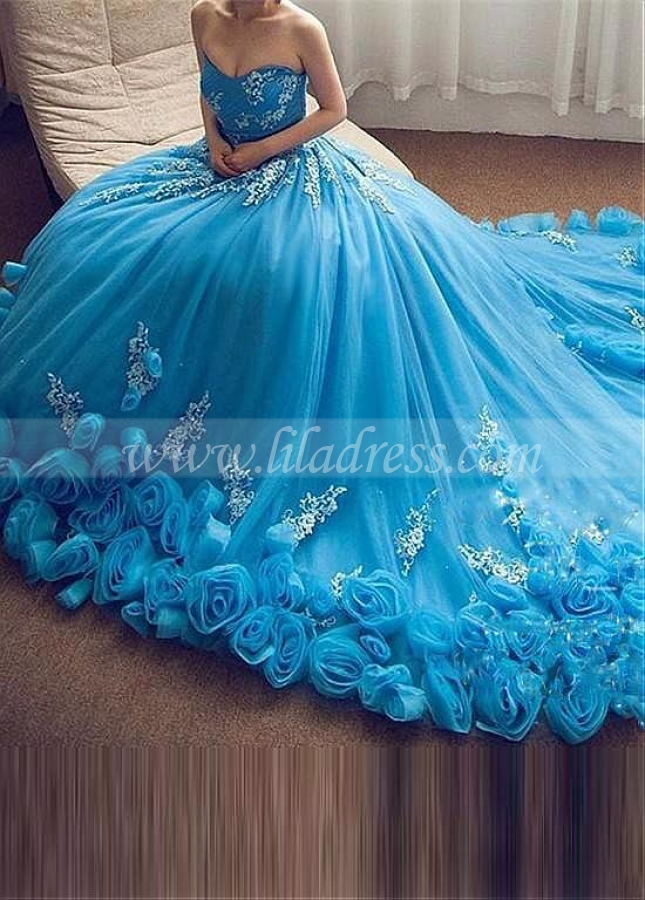 Charming Tulle & Organza Strapless Neckline Ball Gown Prom / Sweet 16 Dresses