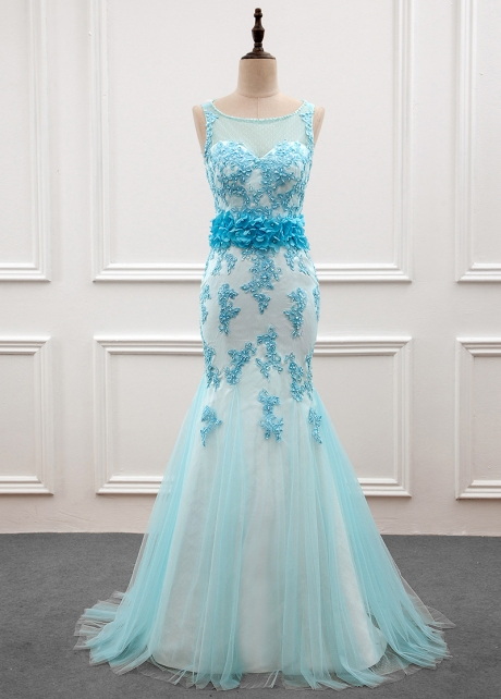 Amazing Scoop Neckline Mermaid Prom Dress With Beaded Lace Appliques & Handmade Flowers
