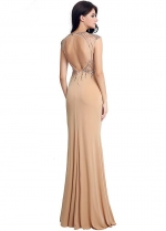 Delicate Jewel Neckline Keyhole Cut-out Back Full-length Sheath Evening Dresses With Beadings