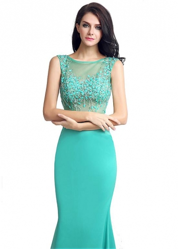 Delicate Satin Bateau Neckline Mermaid Formal Dresses With Beadings