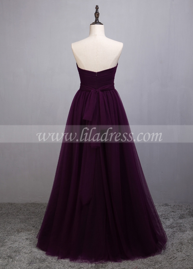 Graceful Tulle Sweetheart Neckline Full-length A-line Purple Convertible Bridesmaid Dress